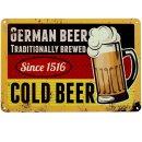 Blechschild German Beer, 20x30 cm