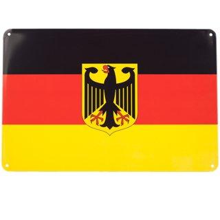 Blechschild Deutschland Flagge Adler, 20x30 cm