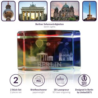 Set of 2 3D paperweights with BERLIN laser engraving, colored, 4x6 cm