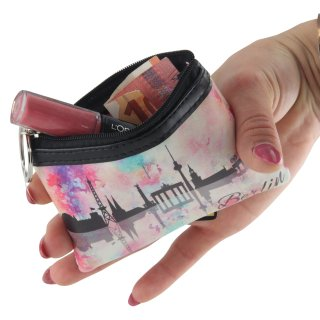 Berlin Mini Case | Small make-up bag with zipper & key ring | Skyline | Souvenir