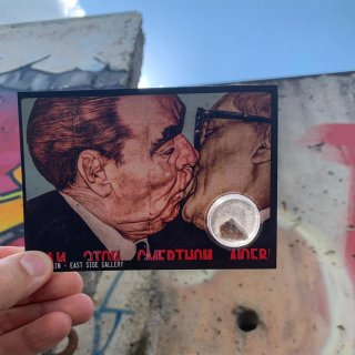 Postcards set of 4 with original Berlin Wall stone